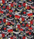 Michael Miller Skull Fabric Tattoo Love Heart Roses