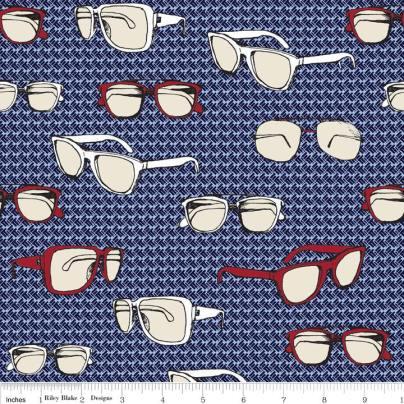 (Riley Blake Designs) Speedster, Sporty Glasses in Blue - C3901