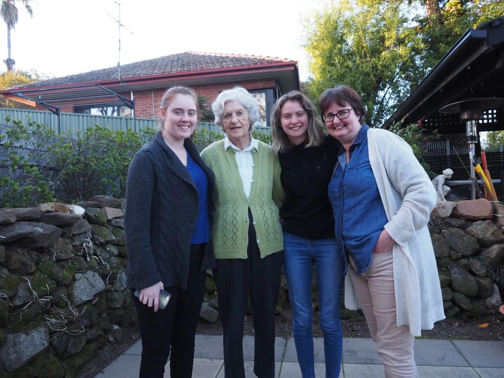 Grandma with grandaughters and daughter-in-law