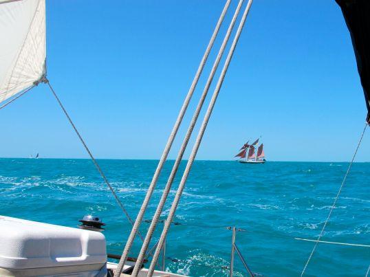 Jolly II Rover races ahead to the schooner start.
