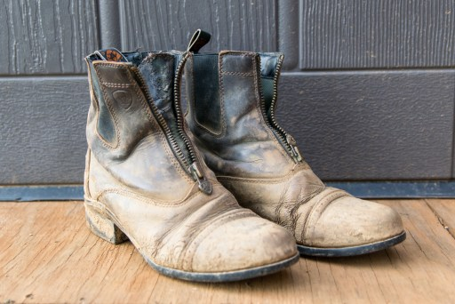 Ariat boots before cleaning with Sterling Essentials Cleaner and Conditioner