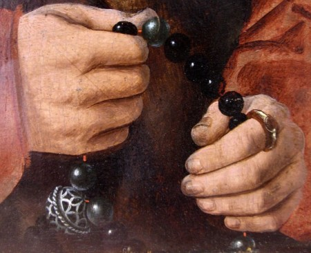 Rosary with pomander, from Barthel Bruyn the Elder, Diptych with Portraits of the Pilgrum couple (1528)