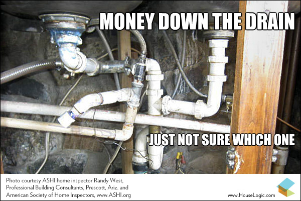 """Meme of a clutter of pipes going different directions with the text """"Money down the drain just not sure which one."""""""