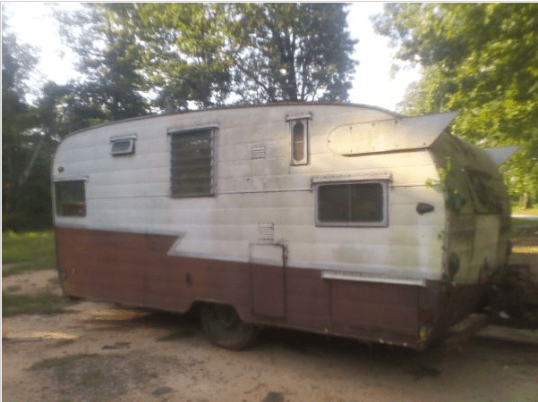 Old nasty retro Shasta camper trailer