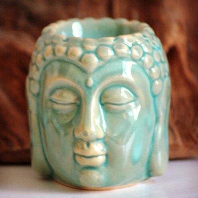 Aromalampe Buddha figur grøn