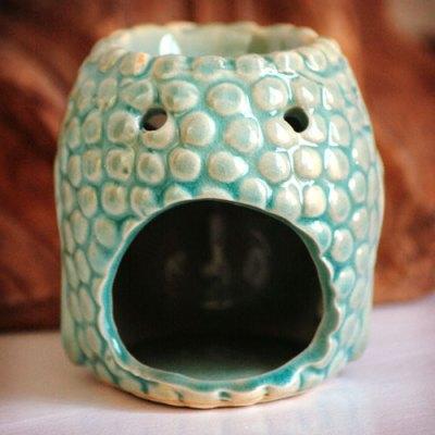 Duftlampe Buddha figur grøn