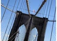 Walking across the Brooklyn Bridge in NYC