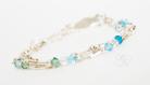 3 strand Swavorski Crystal Studded Silver Bracelet
