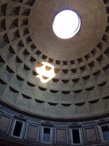 The Pantheon oculus with afternoon light.