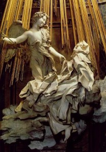 The ecstasy of St Theresa – an angel of the Lord (eros?) Piercing St Therese with the arrow of passionate desire for God.