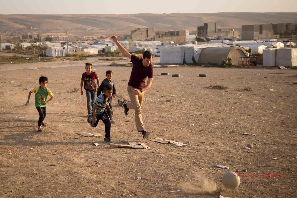 Playing football at the Sharia Internally displaced people's camp (IDP) in Iraqi Kurdistan.