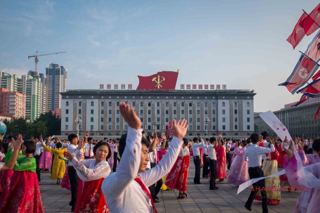 Victory day mass dance, Kim Il Sung square, Pyongyang