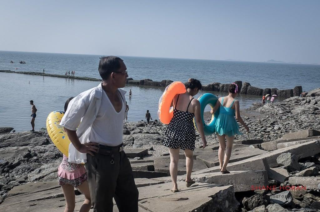 North Koreans at Nampo Beach, DPRK