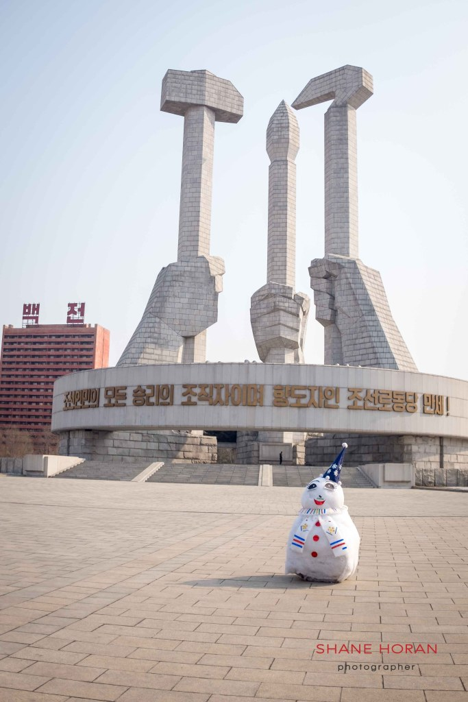 Lone snowman leftover from Lunar New Year, North Korea