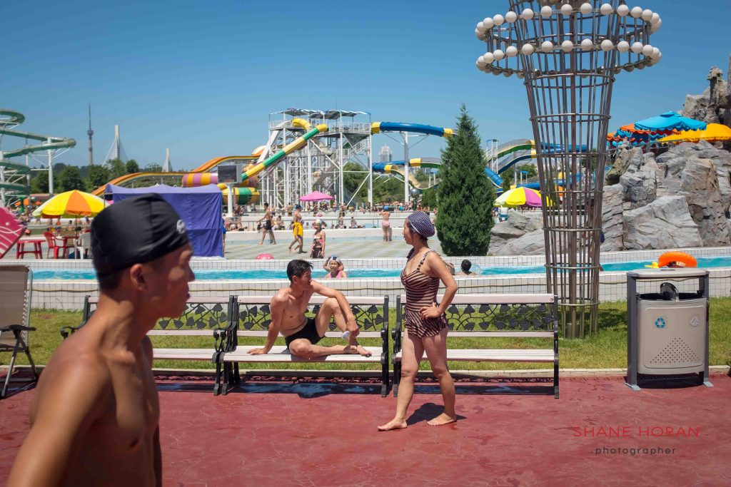 Blistering heat, Munsu water park, Pyongyang, North Korea.