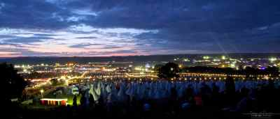 Sunsets at Glastonbury Festival are always best from one of the hills.