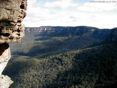 Taken from the Three Sisters, New South Wales, Australia You can actually walk out to the three sisters, and you can take a 900 step walk down to the forest floor. Hard on the legs, but easier than going up the way !