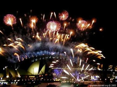 Fireworks Starting, Sydney, Australia The first set of fireworks were launched from the Sydney Harbour Bridge.