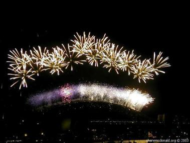 New Years Eve Fireworks, Sydney, Australia The vantage point was excellent, near Mrs. Maquaries Point with clear views of the Sydney Opera House and the Sydney Harbour Bridge from where some of the fireworks were launched.