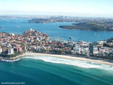 Manly, Sydney - from the Air, Sydney, Australia This is a view of Manly from the air with Sydney in the background.