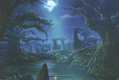 Unicorn at night near standing stones