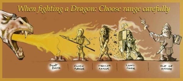 When fighting a dragon choose range meme