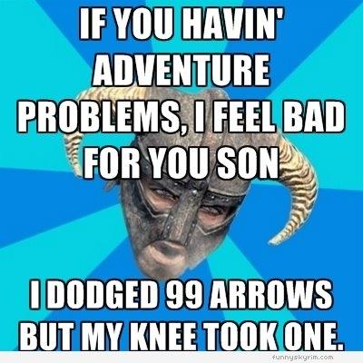 d&d meme skyrim dodged 99 arrows