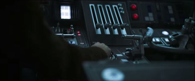 star wars solo trailer millennium falcon cockpit and hand 1
