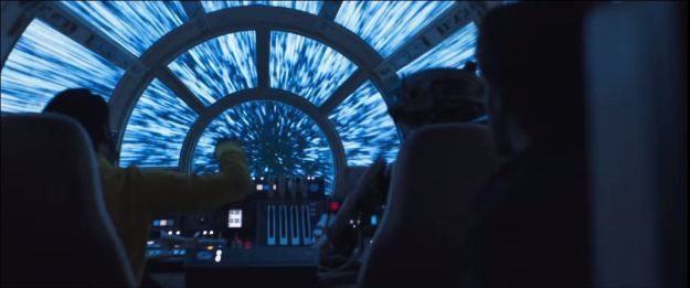 star wars solo trailer millennium falcon cockpit looking forward jumping to lightspeed streaking stars