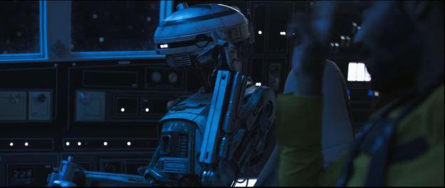 star wars solo trailer millennium falcon cockpit front right view lando and droid