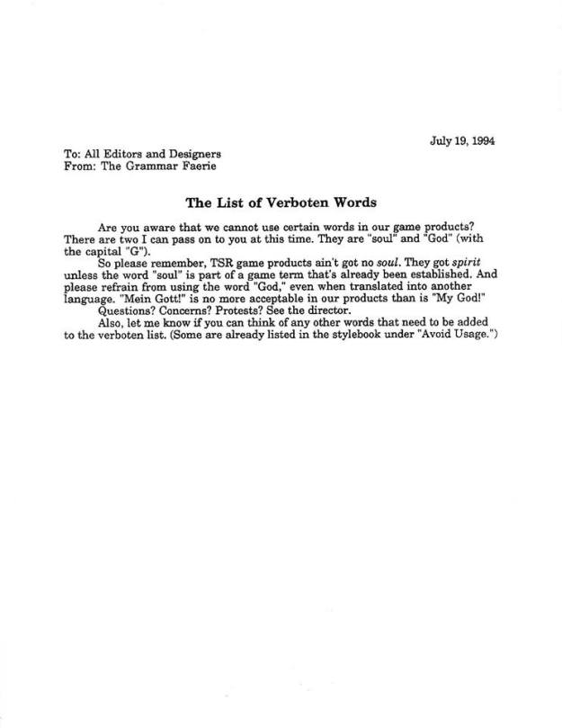 tsr memo list of verboten words july 19 1994 from alex kammer