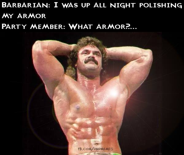 d&d meme barbarian polishing armor