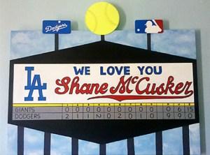 photo of a Dodger's scoreboard painted by Shane's Grandma Teri Kuwahara