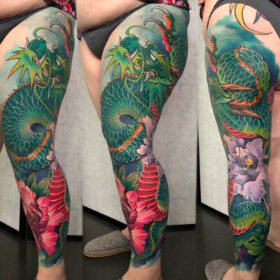 3 zhuo dan ting tattoo work 卓丹婷纹身作品 彩色花腿龙纹身 1
