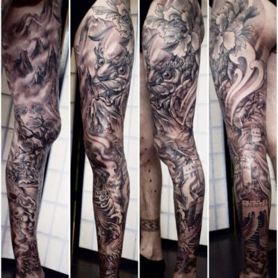 shanghai tattoo zhuo dan tings tattoo workfull leg sleeve 1