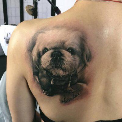 zhuo dan ting tattoo work 卓丹婷纹身作品写实狗纹身 1