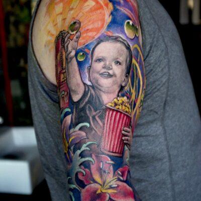 zhuo dan ting tattoo work 卓丹婷纹身作品 彩色孩子肖像设计纹身 1
