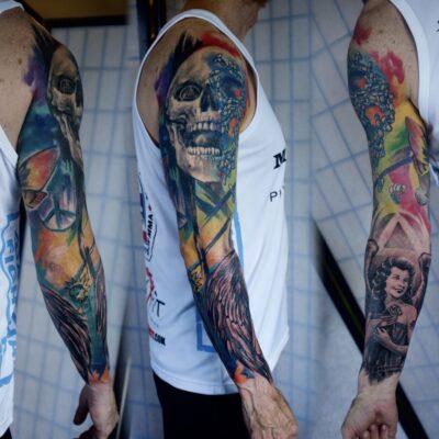 zhuo dan ting tattoo work 卓丹婷纹身作品 彩色花臂设计纹身 1