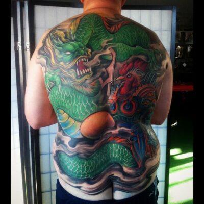 zhuo dan ting tattoo work 卓丹婷纹身作品 满背龙和公鸡纹身 1