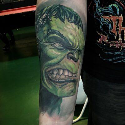 zhuo dan ting tattoo work 卓丹婷纹身作品 绿巨人纹身 1