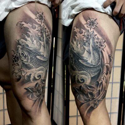 zhuo dan ting tattoo work 卓丹婷纹身作品 鲤鱼纹身 1