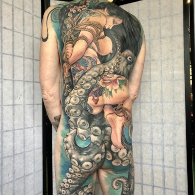 zhuo dan ting tattoo work 卓丹婷纹身作品 full back geisha tattoo 3