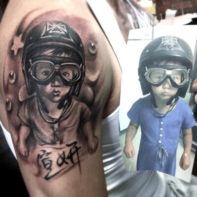 zhuo dan ting tattoo work kid realism portrait tattoo卓丹婷写实肖像纹身 1