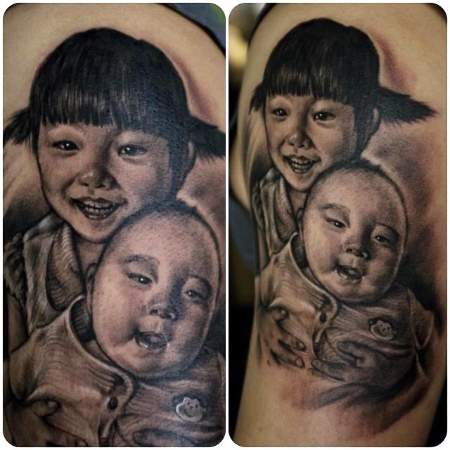 zhuo dan ting tattoo work portrait.肖像写实纹身,卓丹婷作品