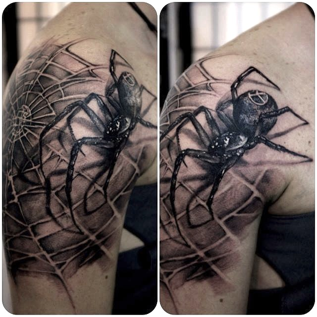 zhuo dan ting tattoo work spider tattoo卓丹婷纹身蜘蛛写实