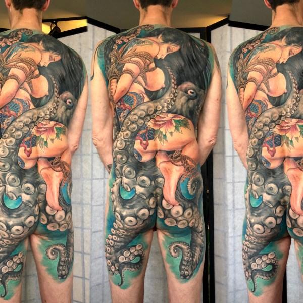 2.Zhuo-Dan-Ting-Tattoo-work-卓丹婷纹身作品-满背捆绑艺妓章鱼纹身
