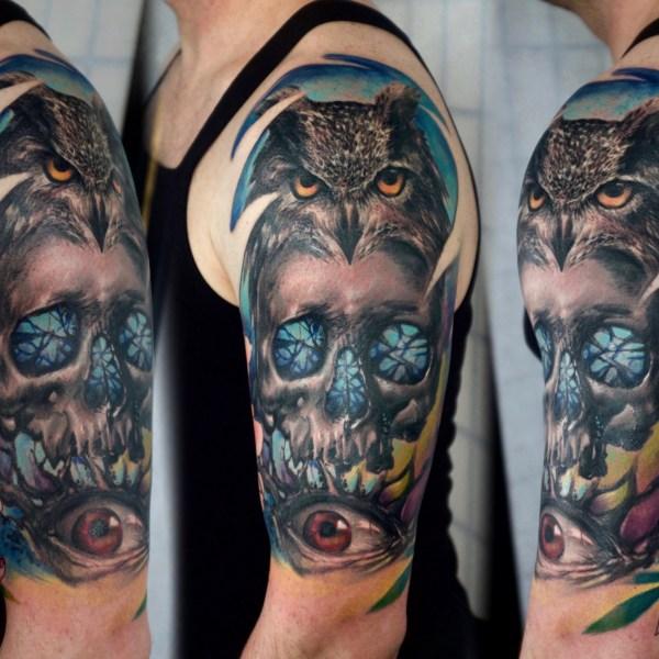 4.Zhuo-Dan-Ting-Tattoo-work-卓丹婷纹身作品-骷髅猫头鹰纹身