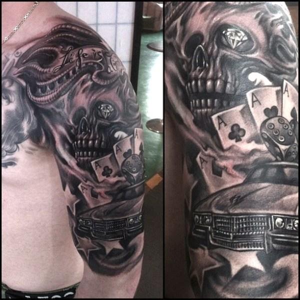 Zhuo-Dan-Ting-Tattoo-Work-car-skull-tattoo卓丹婷纹身