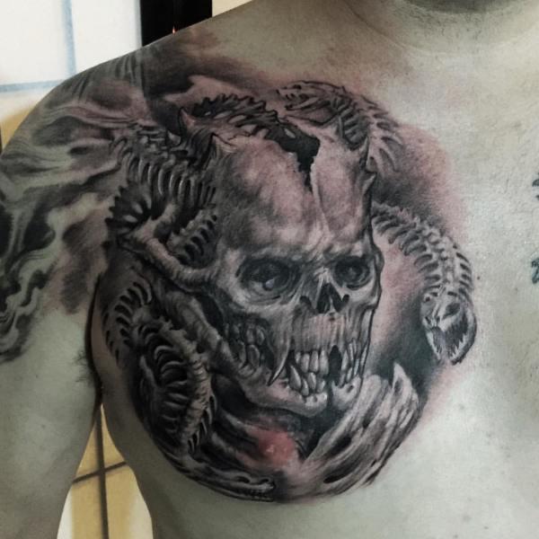 Zhuo-Dan-Ting-Tattoo-work-卓丹婷纹身作品骷髅
