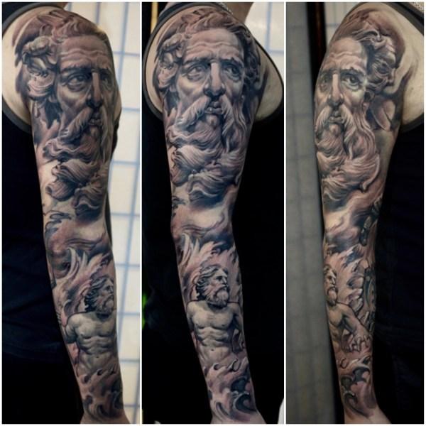 Zhuo-Dan-Ting-Tattoo-work-卓丹婷纹身作品-海神纹身